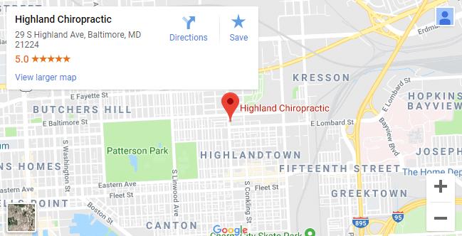 map of Baltimore chiropractors